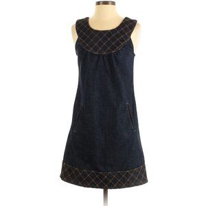 Anlo Dark Blue Denim Gold Thread Accent Dress 5923